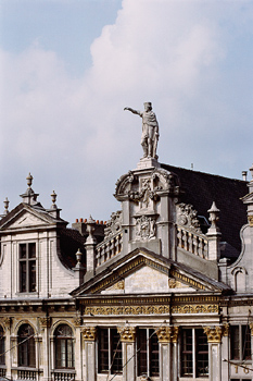 Rooftops and statue, Grande Le Place, Brussels, Belgium