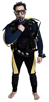 Diver in scuba equipment gives hand signal