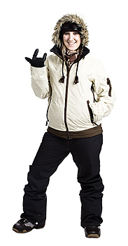 Woman posing in winter outerwear gesturing