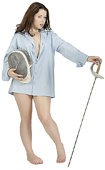 Young Woman in Men's Shirt with Fencing Gear