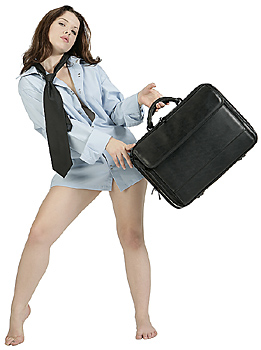 Young Woman in Men's Shirt Holding Briefcase