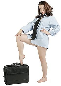 Young Woman in Men's Shirt with Briefcase