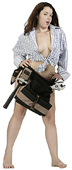 Sexy Young Woman Wearing Tool Belt