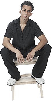 Handsome Male Model Posing on Stool