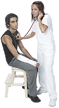 Nurse Checking Patient with Stethoscope