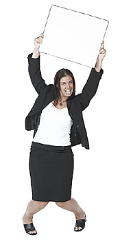 Young Businesswoman holding Sign Board