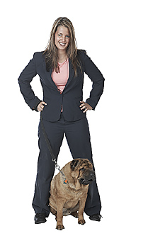 Young Businesswoman with Pet Dog