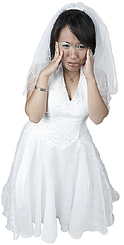 Young Woman in Wedding Dress Crying