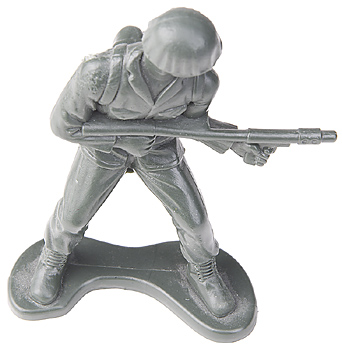Toy soldier aiming rifle