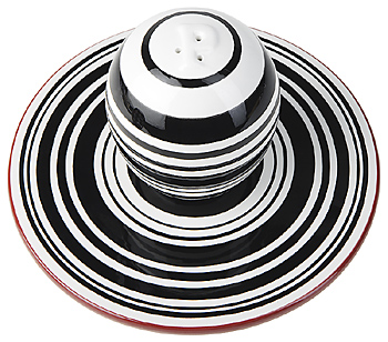 Black and white striped shaker