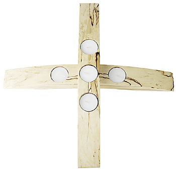 Wooden cross candle holder