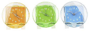 Three clear colored acrylic clocks
