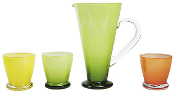 Glass cups and pitcher