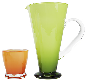 Glass cup and pitcher
