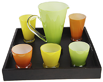 Glasses and pitcher on serving tray