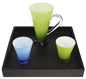 Two tinted glasses and pitcher on tray