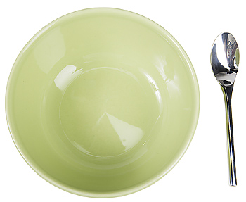 Green bowl with spoon