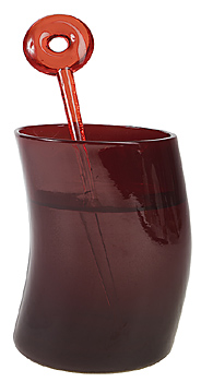 Burgundy tinted glass with swizzle stick