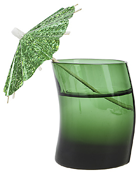 Green tinted glass with umbrella