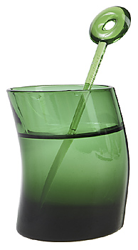 Green tinted glass with swizzle stick
