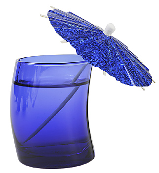 Blue tinted glass with umbrella