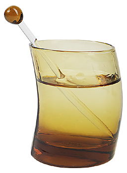 Amber tinted glass with swizzle stick