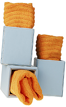 Boxes with rolled towels