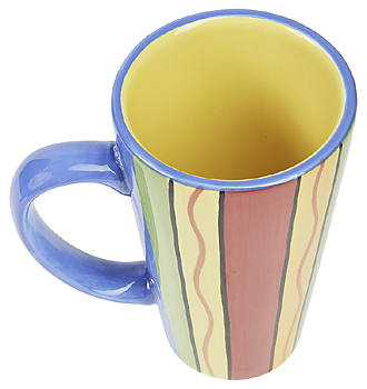 Colorful striped coffee cup