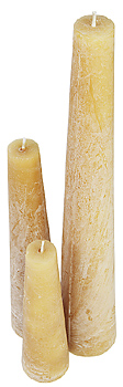 Set of three rough candles