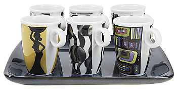 Set of mugs with different designs on tray