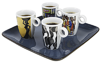 Four cups of coffee on tray