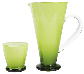Green frosted glass and pitcher set