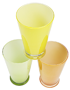 Set of varicolored frosted tumblers