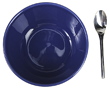 Blue ceramic bowl and spoon