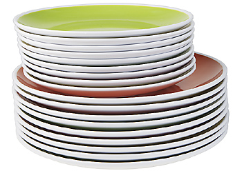 Stacks of smaller and larger plates