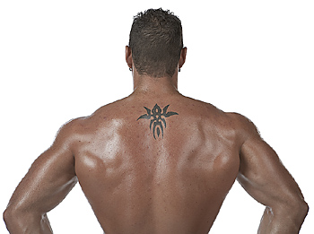 Back of Shirtless Man with Tattoo
