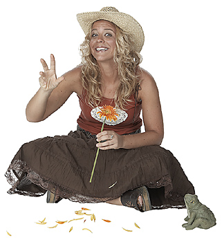 Smiling cowgirl holding sunflower
