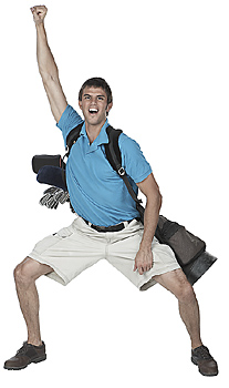 Enthusiastic male golfer posing