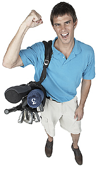 Male golfer pumping his fist