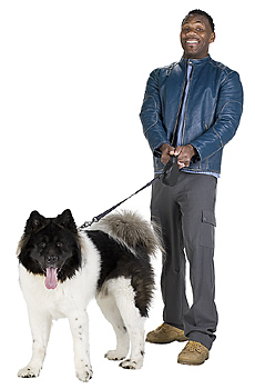 Man with dog on leash