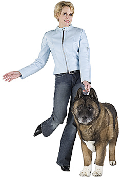 Dancing woman posing with dog