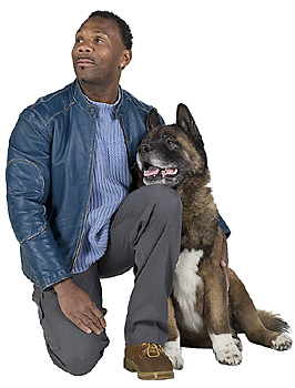 Man posing with dog