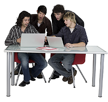 Four teenage boys shocked by laptops