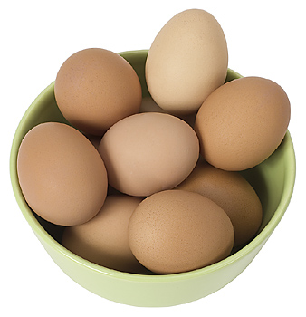 Top view of bowl filled with eggs
