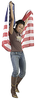 Woman posing with American flag