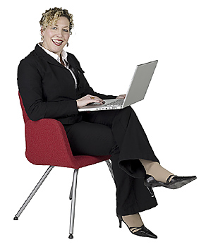 Businesswoman posing with computer