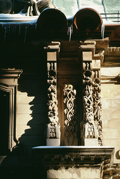 Carvings on columns of building