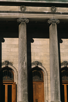 Close-up of building with columns