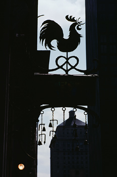 Silhouette of rooster statue in shop