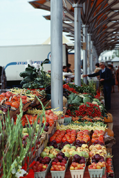 Produce stand in market